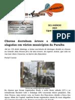 Chuvas derrubam árvore e deixam ruas alagadas em vários municípios da Paraíba