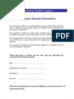 Orientation - Booklet Declaration