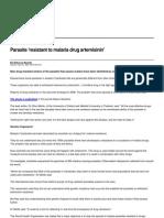 Parasite resistant to malaria drug artemisinin