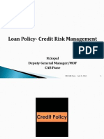 Loan Policy- Credit Risk Management