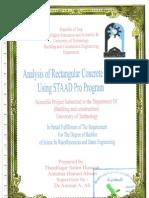 Analysis of Rectangular Tank Using Staad Pro Programme