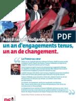 Avec François Hollande, pour la France, un an d'engagements tenus, un an de changement.