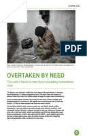 Overtaken By Need: The world's failure to meet Syria's humanitarian crisis