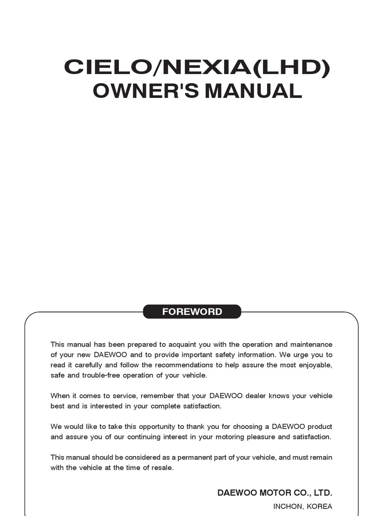 cielo1997 english manual transmission mechanics automatic rh scribd com daewoo cielo 1996 service manual Daewoo Espero