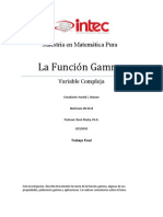 Investigacion de La Funcion Gamma Para Variable Compleja