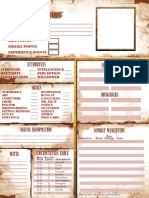 Army of Darkness character sheet