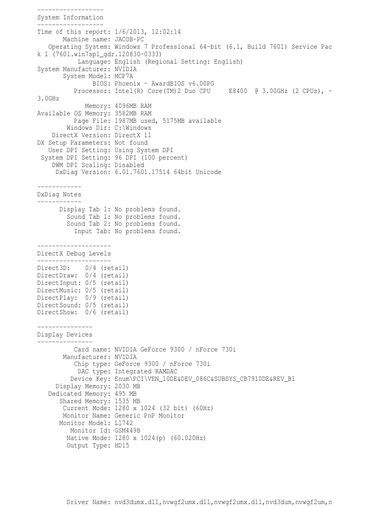 DxDiag1 | Device Driver | Codec