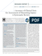 Diagnostic Accuracy of Clinical Tests for Assessment of Hamstring Injury, A Systematic Review