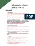 Cuestionario de Administración 1 capitulos 1 al 9