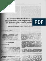 Horacio M. Lynch - El Recurso Extraordinario Por Arbitrariedad y La Responsabilidad Del Estado Por Errores Judiciales - LL 1990-D, 719