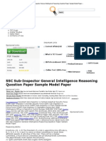 SSC Sub-Inspector General Intelligence Reasoning Question Paper Sample Model Paper «