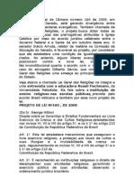 O Projeto de Lei da Câmara número 160 de 2009- LEI GERAL DAS RELIGIÕES