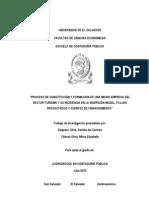 Proceso de constitución y formación de una micro empresa del sector turismo y su incidencia en la inversión inicial, flujos proyectados y fuentes de financiamiento