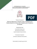 Reformas migratorias en EEUU. Realidad de una Política exterior en el marco de un Gobierno por el Cambio en El Salvador