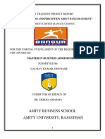 Summer Training Project Report of Bangur Cement 3