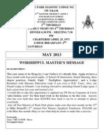 Hyde Park Lodge Trestleboard May 2013