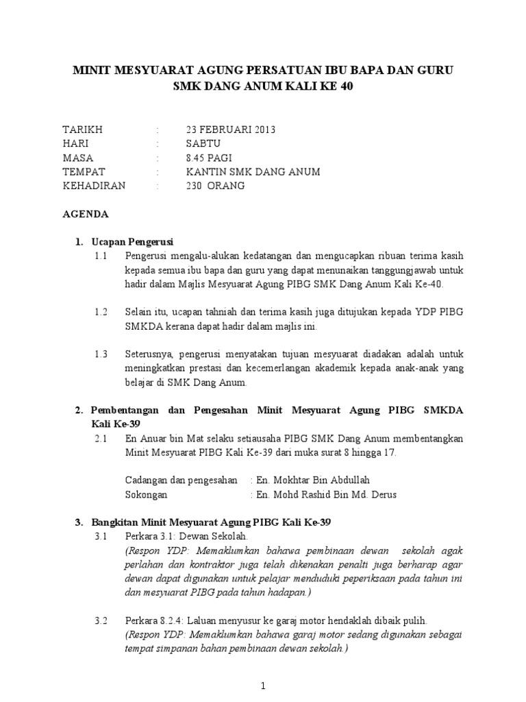 Minit Mesyuarat Agung Pibg Kali Ke40 2013