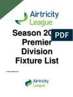 2013 Airtricity League Premier Division Fixture List