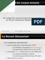Bruno Bon, De l'usage des corpus textuels dans la rédaction du Novum Glossarium Mediae Latinitatis