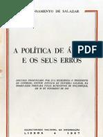 Salazar. a Politica de Africa e Os Seus Erros.1967