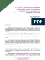 La comunicación interna como proceso dinamizador para fomentar valores institucionales y sustento de una identidad universitaria