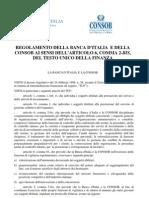 Regolamento Consob Banca d'Italia