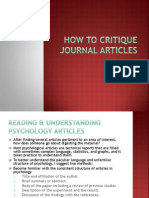 How to Critique Journal Articles
