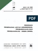 Pedoman Penerapan Untuk Komisioning, Pengusahaan Pemeliharaan Mesin Diesel spln 25_1980