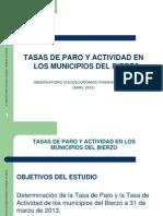 Tasas de Paro y Actividad en Los Municipios Del Bierzo