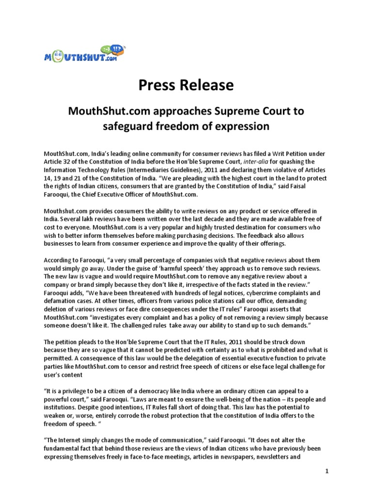 MouthShut.com Approaches Supreme Court to Safeguard Freedom of Expression  and Speech. | Supreme Court Of India | Justice