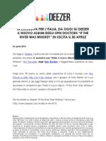 """Deezer SpIN ESCLUSIVA PER L'ITALIA, DA OGGI SU DEEZER  IL NUOVO ALBUM DEGLI SPIN DOCTORS """"IF THE RIVER WAS WHISKEY"""" IN USCITA IL 30 APRILE  in Doctors 2604"""