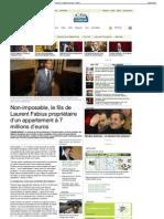 Non-imposable, le fils de Laurent Fabius propriétaire d'un appartement à 7 millions d'euros