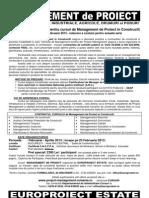 EUROPROIECT ESTATE - Curs Management de Proiect in Constructii , Ing. Marius Gaitan, PMP