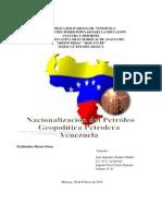 Nacionalizacion Del Petroleo, Geopolitica Petrolera