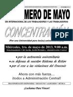 Mariposa 1ro. Mayo 2013