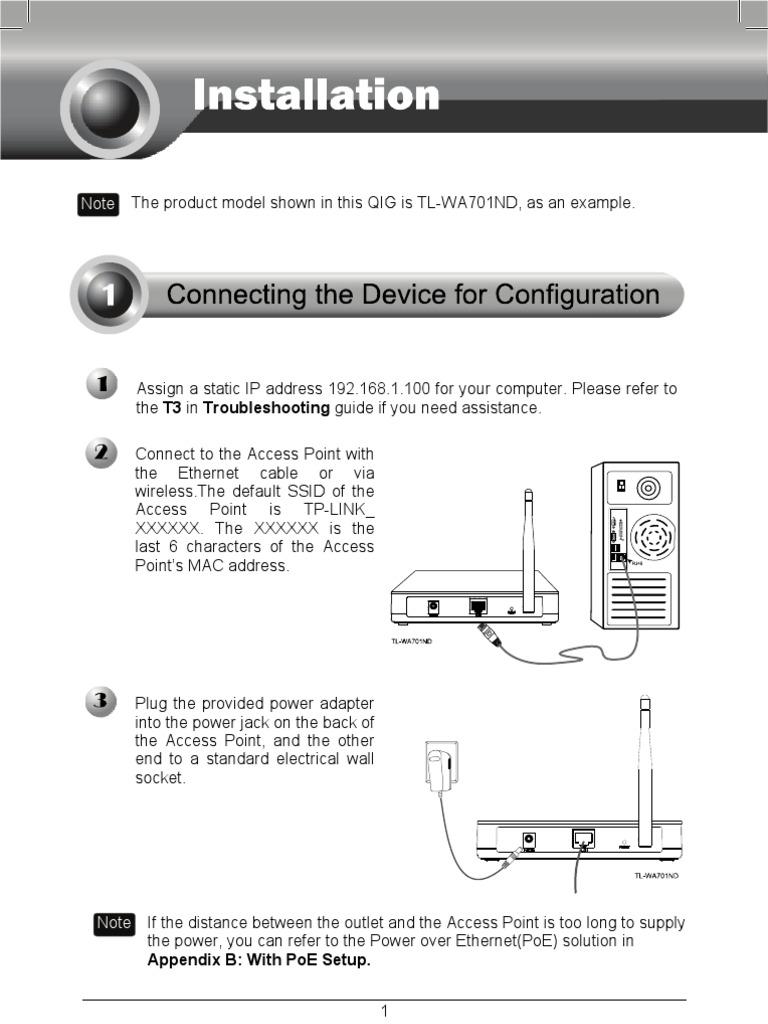 Tl Wa901ndpdf Wireless Access Point Lan Ethernet Wall Jack Wiring Poe