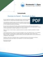 Comunicado Município da Nazaré - Privatização da Água