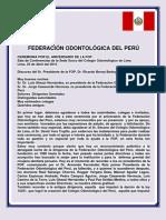CEREMONIA DE ANIVERSARIO. DISCURSO DEL PRESIDENTE DE LA FOP