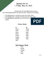 Spelling Unit 15-Parent LetterYellow