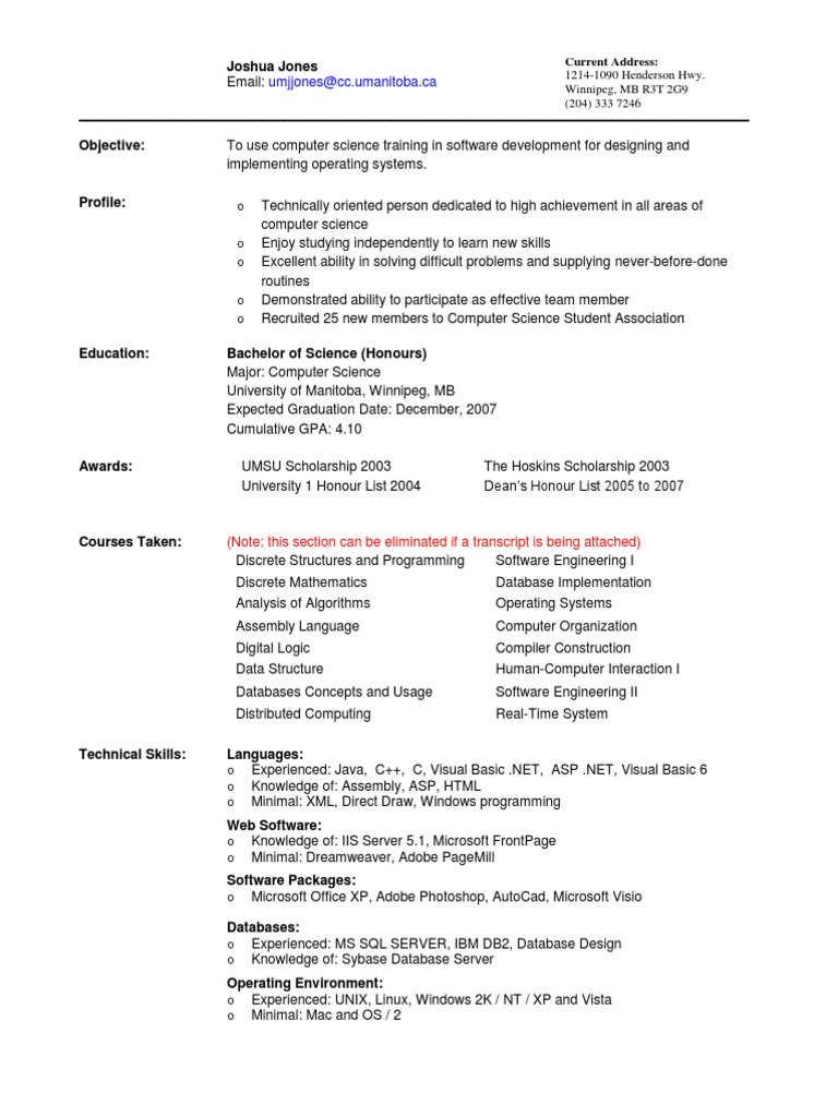 Computer Science Student Resume from imgv2-2-f.scribdassets.com