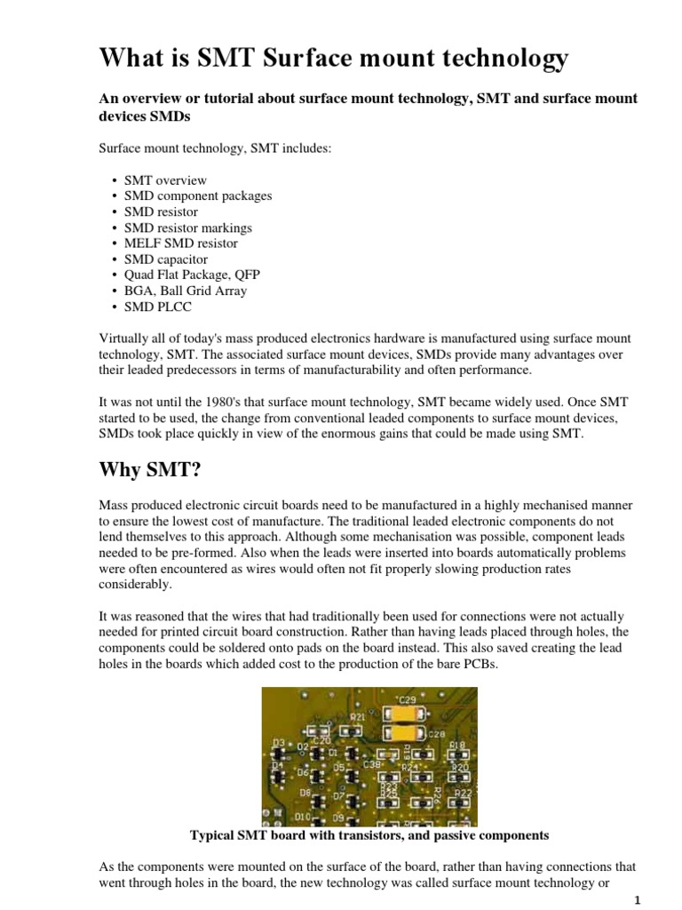 Surface Mount Technology Smt Resistor Capacitor Printed Circuit Board Of Transistors Capacitors And Other Components