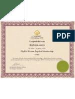 phyllis weston scholarship phyllis weston scholarship certificate rotated