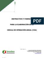 Instructivo COA Concentrado 11SEP2012