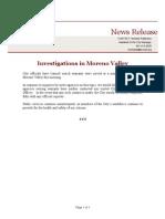 Moreno Valley Statement on FBI Raids