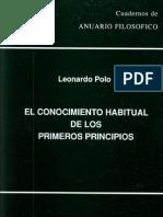 El Conocimiento Habitual de Los Primeros Principios Serie Universitaria Verde Vol 10_1991
