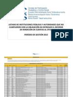 LISTADO INSTITUCIONES PÚBLICAS Y PRIVADAS QUE POR LEY DEBEN ENTREGAR INFORME DE RENDICIÓN DE CUENTAS 2012, Y NO LO HAN HECHO