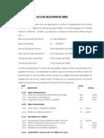 Acta de Recepcion de Obra Instalacion de Agua Potable Moquegua
