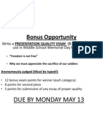 Memorial Day Bonus Essay
