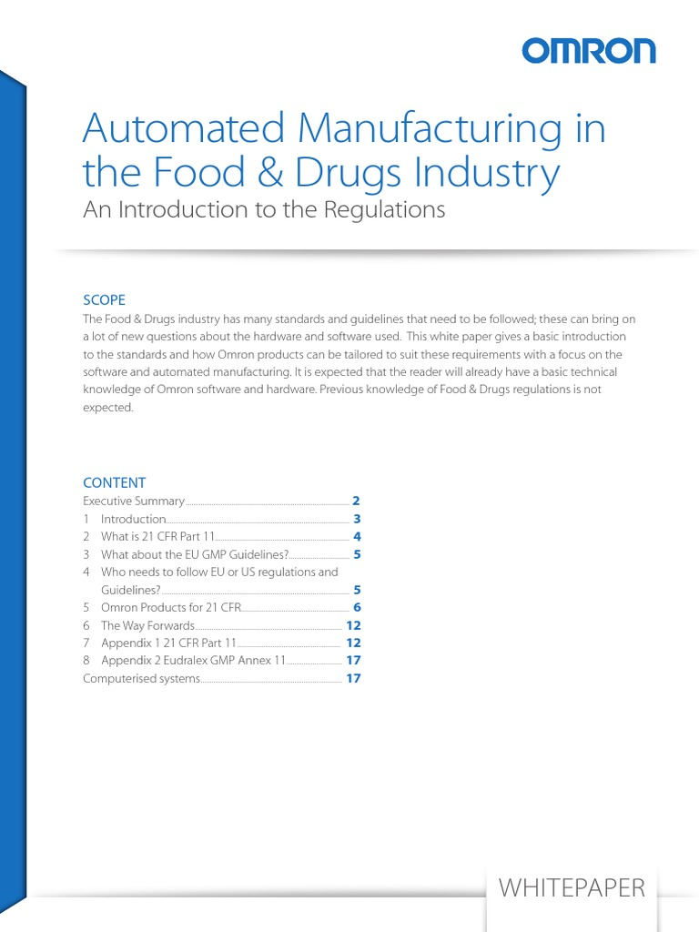 An Introduction To Regulations For Automated Manufacturing In The Pharmaceutical And Food