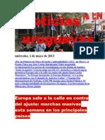 Noticias Uruguayas miércoles 1 de mayo del 2013